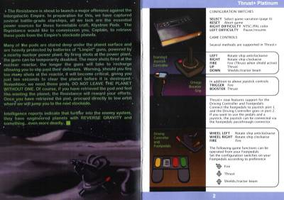 Scan of the inside cover of the Thrust+ Platinum Edition manual.